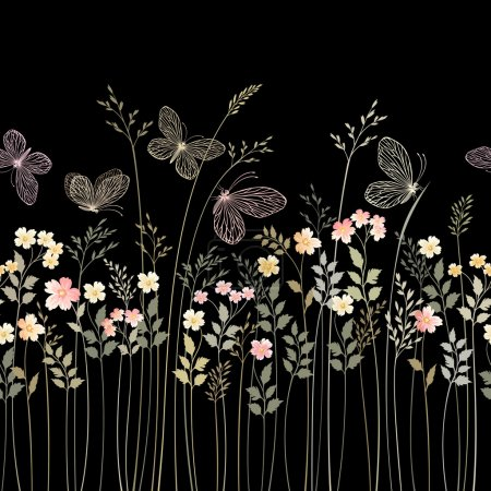 Illustration for Seamless monoghrome floral border with butterflies - Royalty Free Image