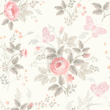 Illustration for Seamless floral pattern with roses in pastel colors - Royalty Free Image