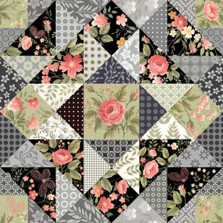 Illustration for Seamless patchwork pattern with roses and butterflies - Royalty Free Image