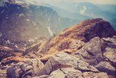 A Tátra-hegységben fekvő vintage fotó