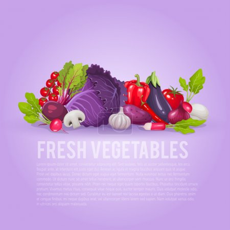 Fresh purple and red vegetables.