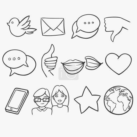 Social doodle icons set
