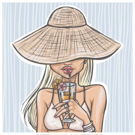 girl in hat drinks a cocktail