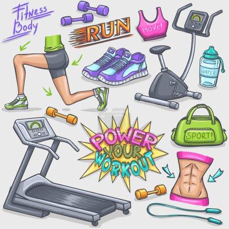Illustration pour Gomme colorée et griffes de fitness - image libre de droit