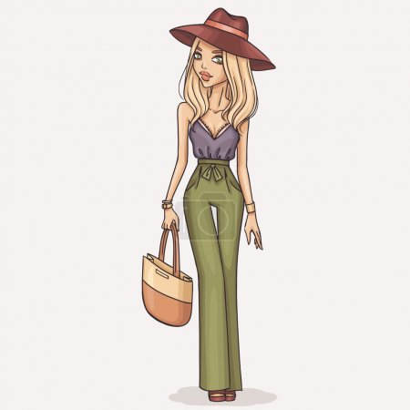 Hand drawn fashion girl