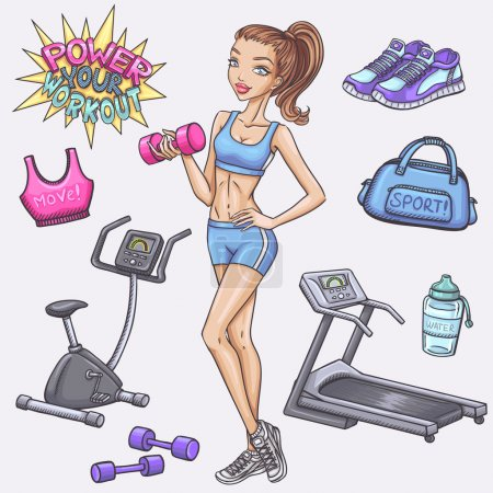 Fitness girl and fitness doodles