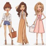 Beautiful and stylish fashion girls set. Vector illustration