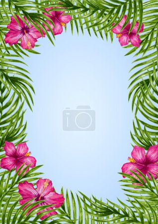 flowers and palm leaves pattern