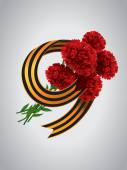 9 May Carnations and Ribbon of Saint George