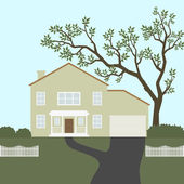 Image of house with white fence and green tree