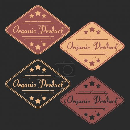 "Vector set of four grunge signs ""Organic Product"""