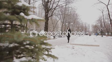 Krásná mladá žena je v zimě park
