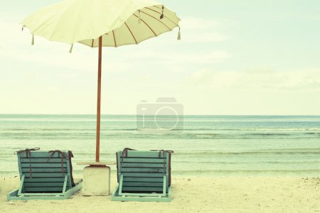 Photo for Beach Umbrella and Chairs - Vintage Postcard. Retro Styled, Old-fashioned - Royalty Free Image