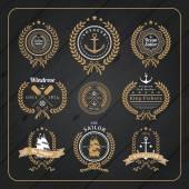 Vintage nautical wreath labels set on dark wood background