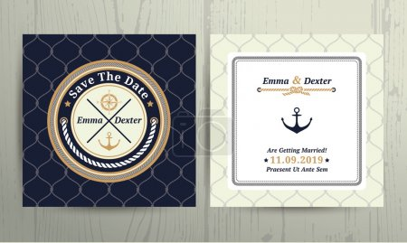 Illustration for Nautical rope wedding save the date card on fishnet background - Royalty Free Image