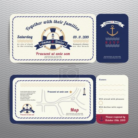 Nautical ticket wedding invitation and RSVP card  with anchor rope design