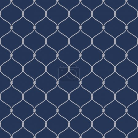 Nautical rope seamless fishnet pattern on dark blue background