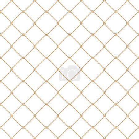 Nautical rope seamless gold fishnet pattern on white background