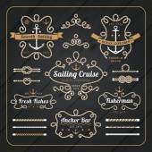 Vintage nautical rope frame labels set on dark wood background