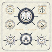 Vintage nautical steering wheel and anchor labels set