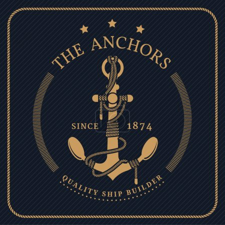Vintage nautical anchor and tied rope label on dark background