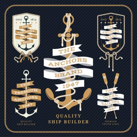 Illustration for Vintage nautical anchor and ribbon labels set on dark striped background - Royalty Free Image