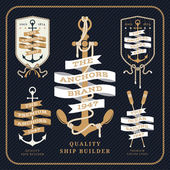 Vintage nautical anchor and ribbon labels set on dark background