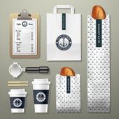 Blue anchor coffee shop corporate identity template design set
