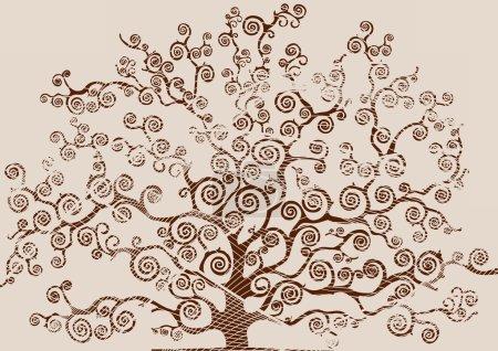 Photo pour Dessin d'un arbre avec un feuillage griffonné sur fond blanc - image libre de droit