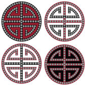 Traditional Oriental Korean symmetrical zen symbols in black white and red with diamonds element fashion and tattoo elements