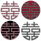 Traditional Oriental Korean symmetrical double happiness zen symbols in black white and red with diamonds element fashion and tattoo elements