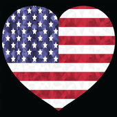 American flag in  low poly art  design with in the hearts shape symbol of  4th of July American Independence day celebration