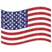 United States flag  flags waving in the wind a a symbol of the independence day  American veterans  and symbol of patriotism in low poly art style with glowing edges