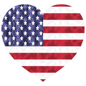 United States flag  flags as a symbol of the independence day  American veterans  and symbol of patriotism in low poly art style in heart shape on white background