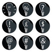 Ideas - bulbs set of icons with associated elements such as percent sign exclamation mark dollar sign British pound question mark mailing sign  and ampersand