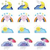 Kawaii set of weather icons