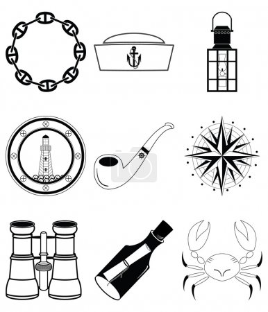Illustration for Nautical elements IV including crab, pipe, sailors hat, lantern, rose winds , view from the boats window, message in the bottle, binoculars and navy style chain - Royalty Free Image