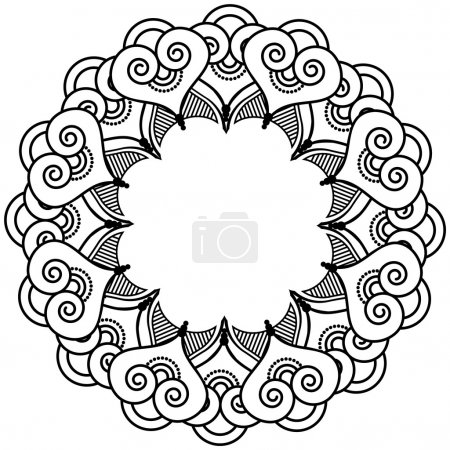 Illustration for Indian henna tattoo inspired heart shapes wreath with leaves element type 2 - Royalty Free Image