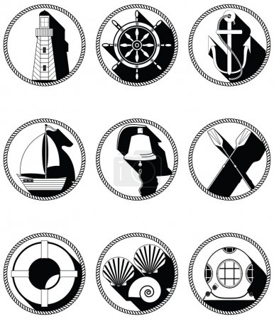 Nautical elements I icons in knotted circle in black and white
