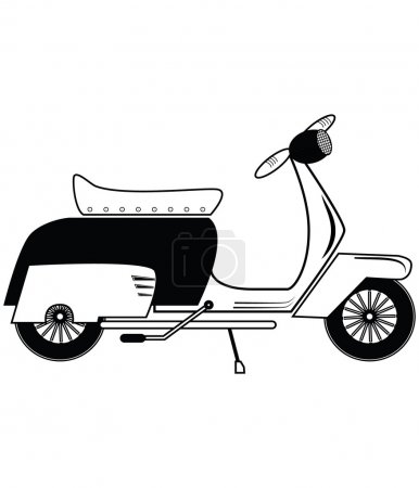 Illustration for Vintage scooter type 1 in black and white - Royalty Free Image