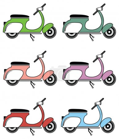 Vintage scooter II on white background