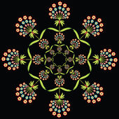 Round floral European culture inspired embroidery on black background