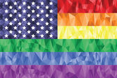 American Flag on the Rainbow Background with low poly art effect