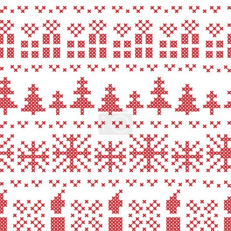 Chritsmas nordic cross stitch pattern in red with xmas gifts, candles, snowflakes, stars