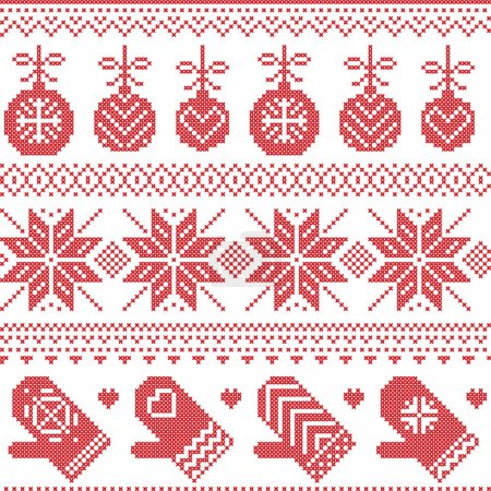 Scandinavian Nordic seamless Christmas pattern with Xmas baubles, gloves, stars, snowflakes, Xmas ornaments, snow element, hearts in red cross stitch