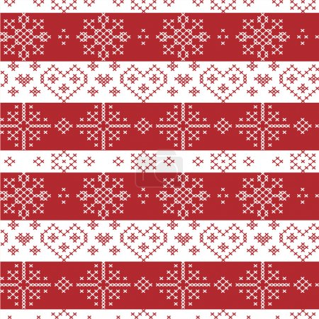 Red and white Nordic Christmas seamless   pattern with stars, snowflakes,  hearts, decorative elements in Scandinavian cross stitch knitting pattern