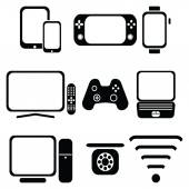 Technology icons set with tablet mobile phone smart watch  game console  smart tv players joystick for game console  laptop  PC Internet and  network  signal strength and accessibility