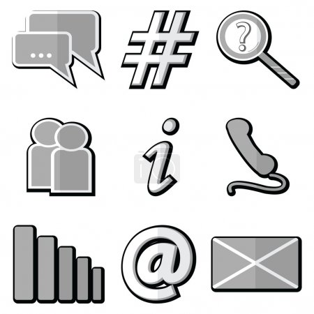 Technology icons set with messenger , communication icons, phone receiver,  search loop, people and information symbol, Internet strength, envelope and email symbol  with inner gray shadow element