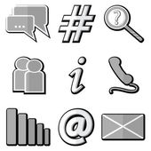 Technology icons set with messenger  communication icons phone receiver  search loop people and information symbol Internet strength envelope and email symbol  with inner gray shadow element