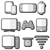Technology icons set with tablet mobile phone smart watch  game console smart tv players joystick for game console  laptop  PC Internet and  network  signal strength and accessibility in 3d